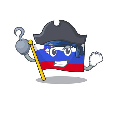 Pirate cartoon flag slovenia in with mascot