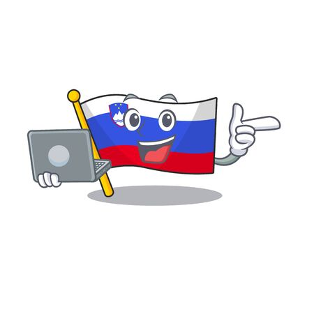 With bring laptop cartoon flag slovenia in with mascot 일러스트