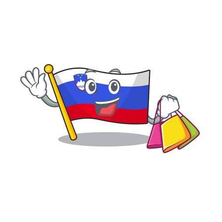 Flag slovenia cartoon with in shopping character 일러스트