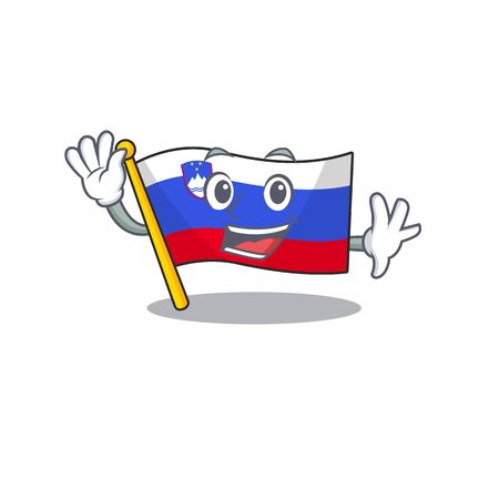 Flag slovenia cartoon with in waving character
