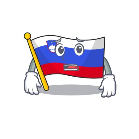 Cartoon flag slovenia isolated in character afraid