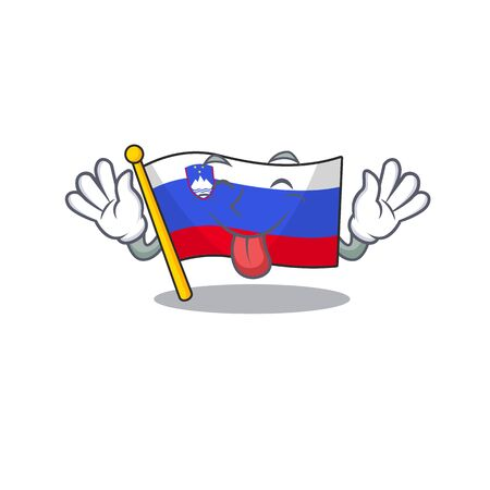 Mascot flag slovenia with in tongue out character