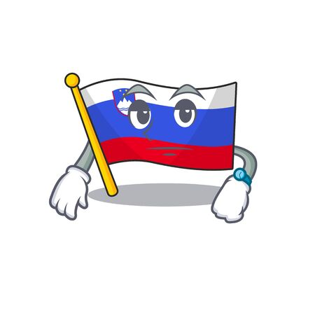 Mascot flag slovenia with in waiting character