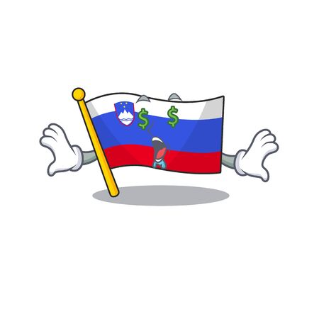 Mascot flag slovenia with in money eye character
