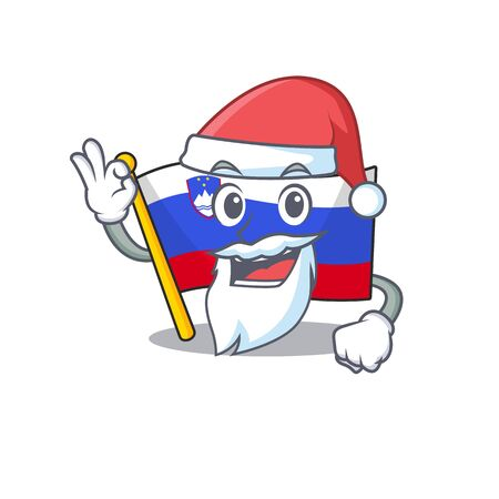 Mascot flag slovenia with in santa claus character Illustration