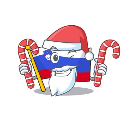 Mascot flag slovenia with in santa bring candy character