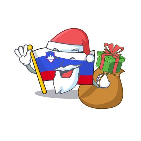 Mascot flag slovenia with in santa bring gift character