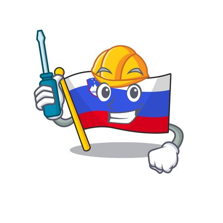 Mascot flag slovenia with in automotive character