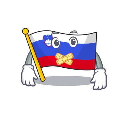 Mascot flag slovenia with in silent character