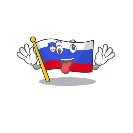 Mascot flag slovenia with in crazy character Illustration