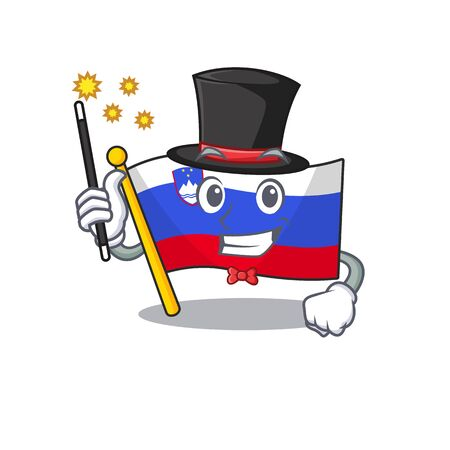 Mascot flag slovenia with in magician character