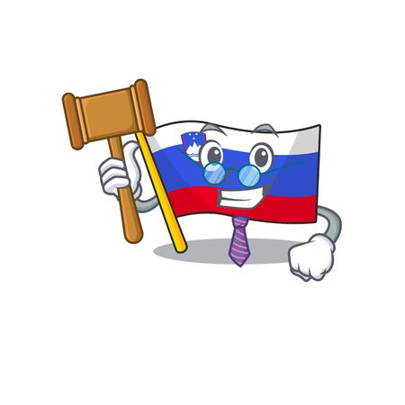 Mascot flag slovenia with in judge character