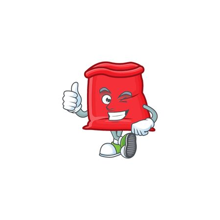 Character thumbs up in the santa bag open vector illustration