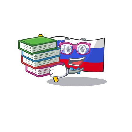 Mascot flag slovenia with in student bring book character