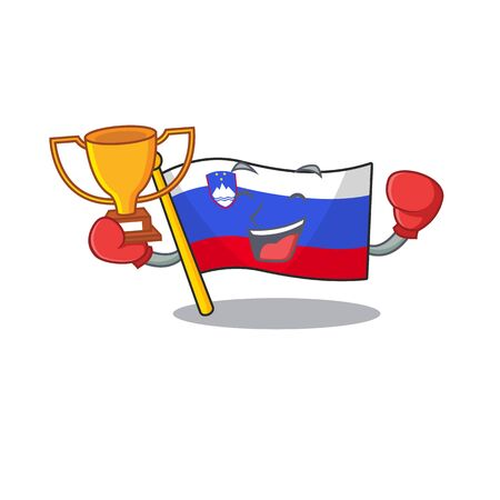 Mascot flag slovenia with in boxing winner character