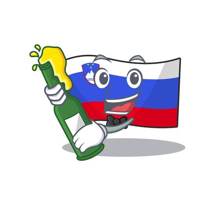 Mascot flag slovenia with in bring beer character