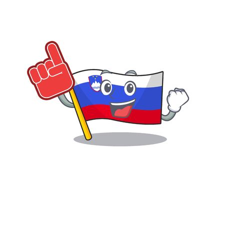Mascot flag slovenia with in foam finger character