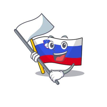 Maskottchen-Flagge Slowenien mit Einbring-Flagge-Charakter