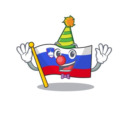 Mascot flag slovenia with in clown character