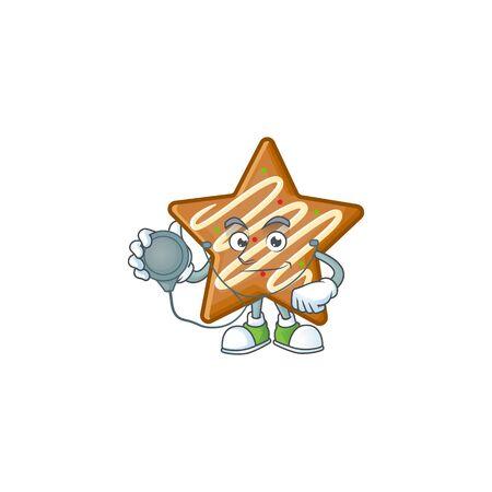 Cartoon crispy star cookies with the character doctor vector illustration Illusztráció