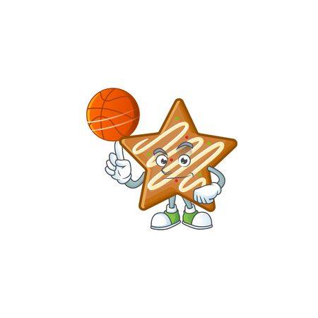Cartoon crispy star cookies with the character holding basketball vector illustration Ilustracja