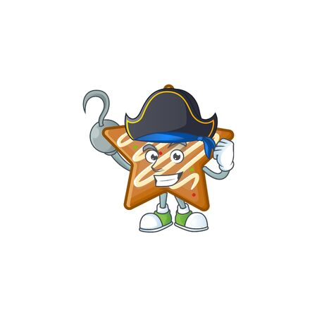 Cartoon crispy star cookies with the character pirate vector illustration
