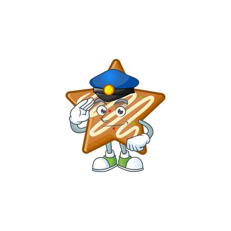 Cartoon crispy star cookies with the character police vector illustration