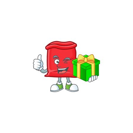 Cute santa bag open with holding gift mascot vector illustration Ilustrace