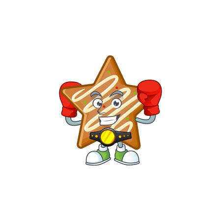 Cartoon crispy star cookies with the character boxing vector illustration