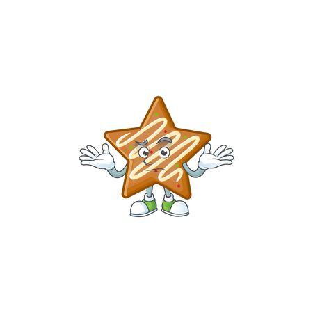 Star cookies cartoon with the mascot grinning vector illustration Illusztráció