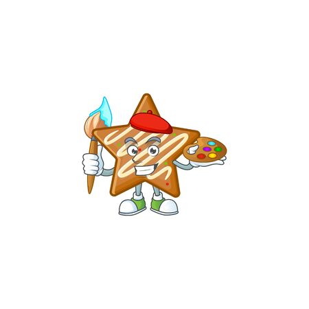 Cartoon crispy star cookies with the character painter vector illustration