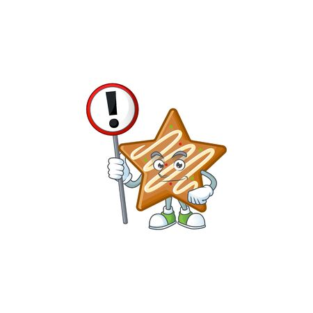 Cartoon crispy star cookies with the character with sign warning vector illustration