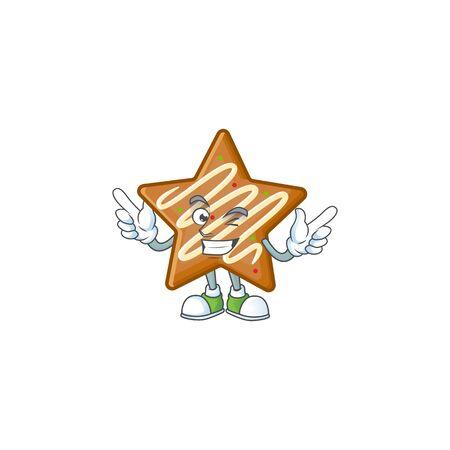 Star cookies cartoon with the mascot wink vector illustration Illusztráció