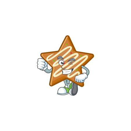 Star cookies cartoon with the mascot thumbs up vector illustration