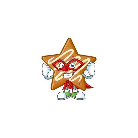 Star cookies cartoon with the mascot super hero vector illustration Illusztráció