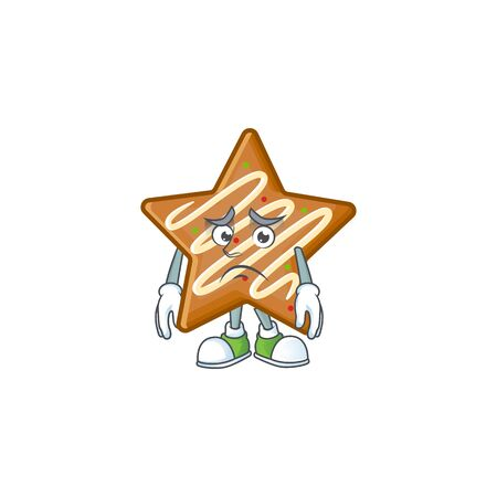 Delicious star cookies with character afraid shape vector illustration