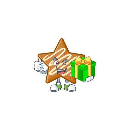 Delicious star cookies with character holding gift shape vector illustration