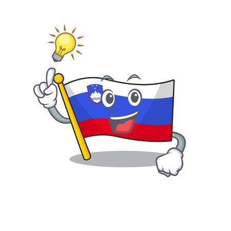 Mascot flag slovenia with in have an idea character