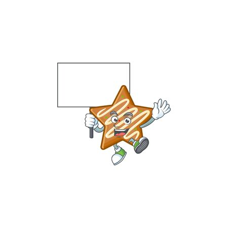Cartoon crispy star cookies with the character bring board vector illustration