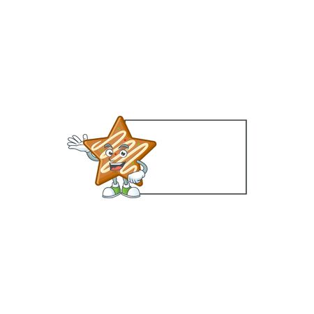 Cartoon crispy star cookies with the character with board vector illustration Illusztráció