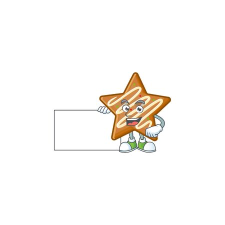 Cartoon crispy star cookies with the character grinning with board vector illustration Ilustracja