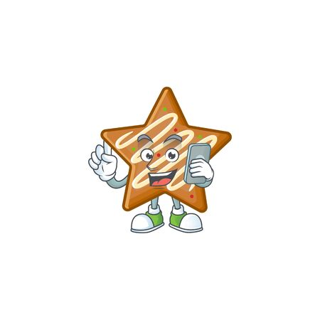 Cartoon crispy star cookies with the character with holding phone vector illustration