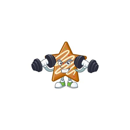 Cartoon crispy star cookies with the character with bring barbell vector illustration