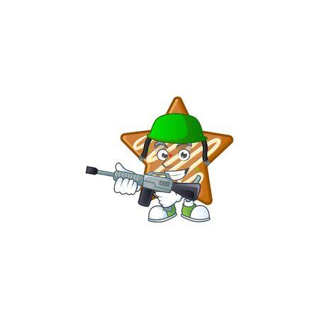 Cartoon crispy star cookies with the character army vector illustration Illusztráció