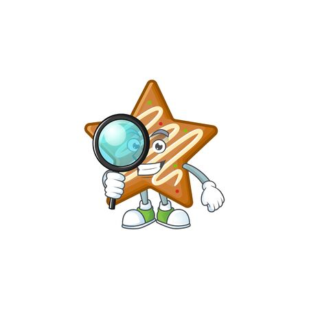 Star cookies cartoon with the mascot detective vector illustration