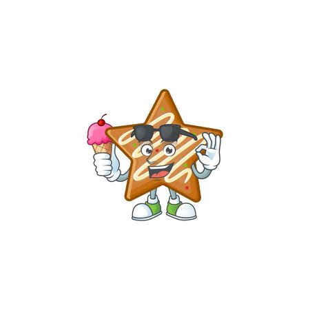 Star cookies cartoon with the mascot with ice cream vector illustration