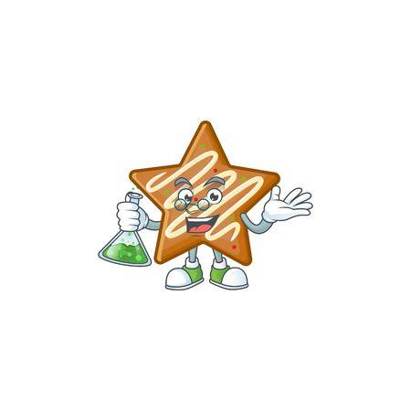 Star cookies cartoon with the mascot professor vector illustration