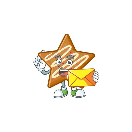 Star cookies cartoon with the mascot bring envelope vector illustration