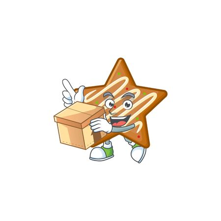 Star cookies cartoon with the mascot with bring box vector illustration