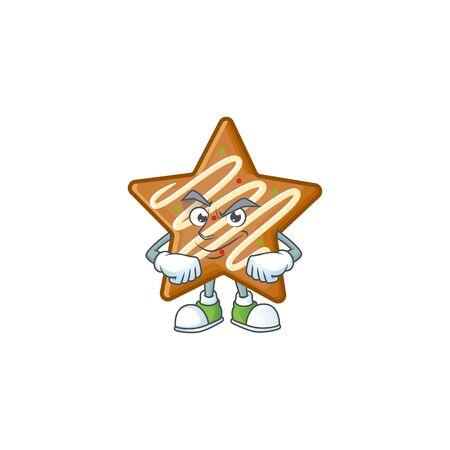 Star cookies cartoon with the mascot smirking vector illustration Illusztráció